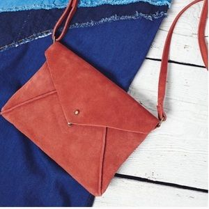 Free People Delilah Suede Leather Crossbody Rust